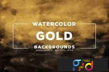 30 Gold Watercolor Backgrounds 7