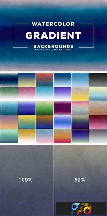 30 Gradient Watercolor Backgrounds 1