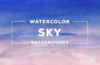 30 Watercolor Sky Gradient Backgrounds 3