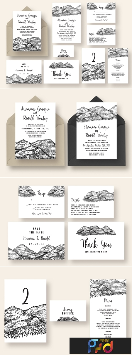 Pen and Ink Mountain Wedding Suite 1071059 1