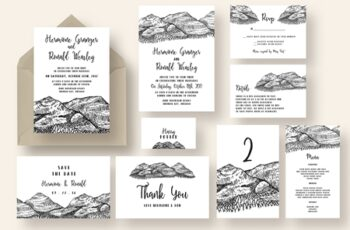 Pen and Ink Mountain Wedding Suite 1071059