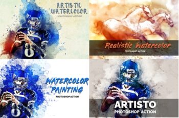 4 in 1 Watercolor Pack Photoshop Actions 3546201 6