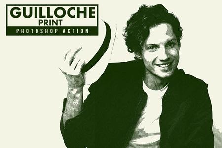 Guilloche Print Photoshop Action 3550041 - FreePSDvn