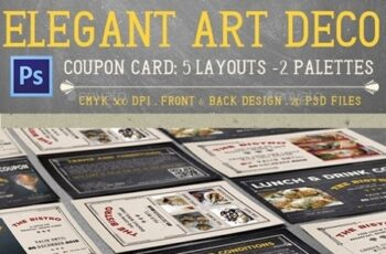 Elegant Art Deco Coupon Card 13545818 4
