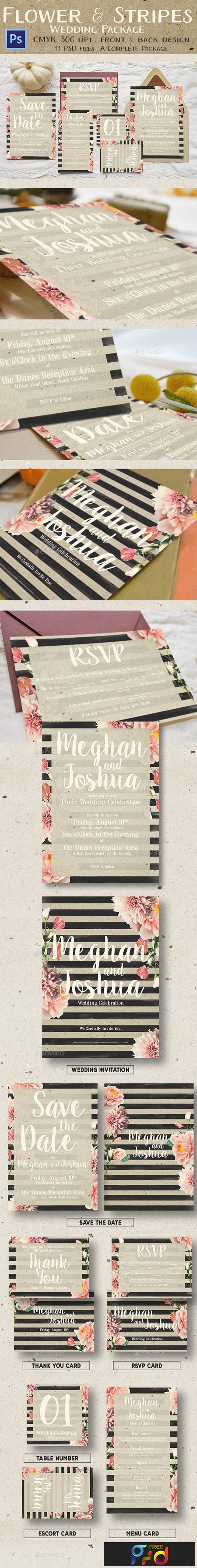 Rustic Flower & Stripes Wedding Package 13641213 1