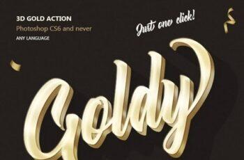 Gold 3D - Photoshop Action 23689581