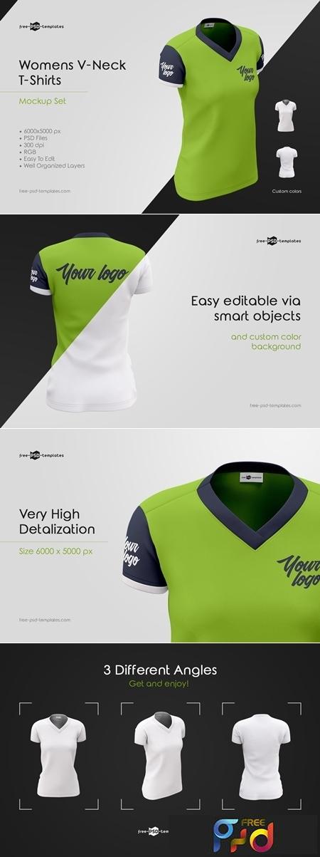 Womens V-Neck T-Shirts MockUp Set 3653532 1