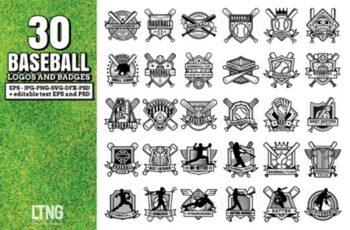 30 Baseball Logos and Badges 1274831 6