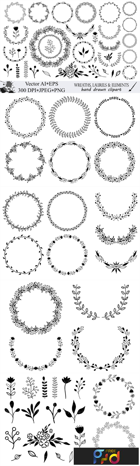 Hand Drawn Wreaths and Elements Clipart 1274748 1