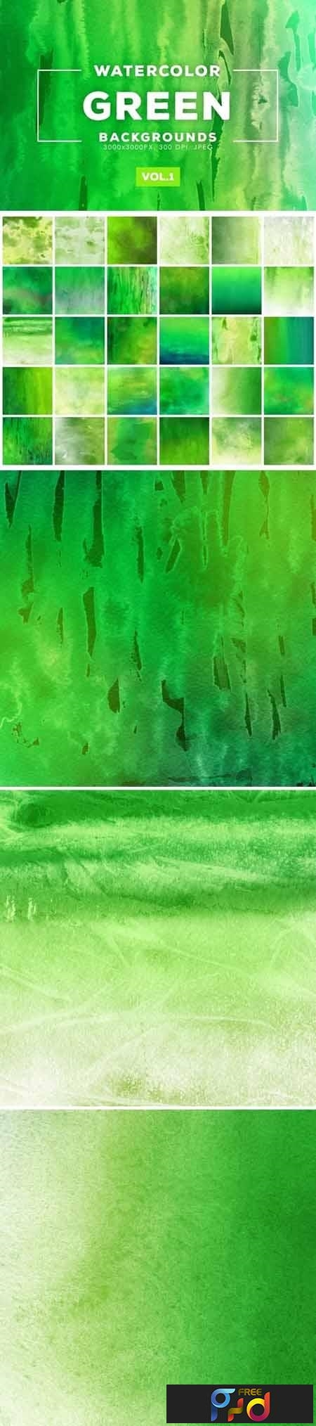 Green Watercolor Backgrounds Vol.1 1
