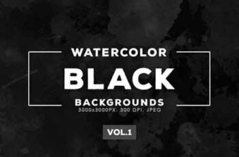 Black Watercolor Backgrounds Vol.1 4