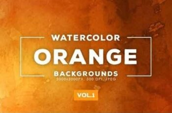 Orange Watercolor Backgrounds Vol.1 5