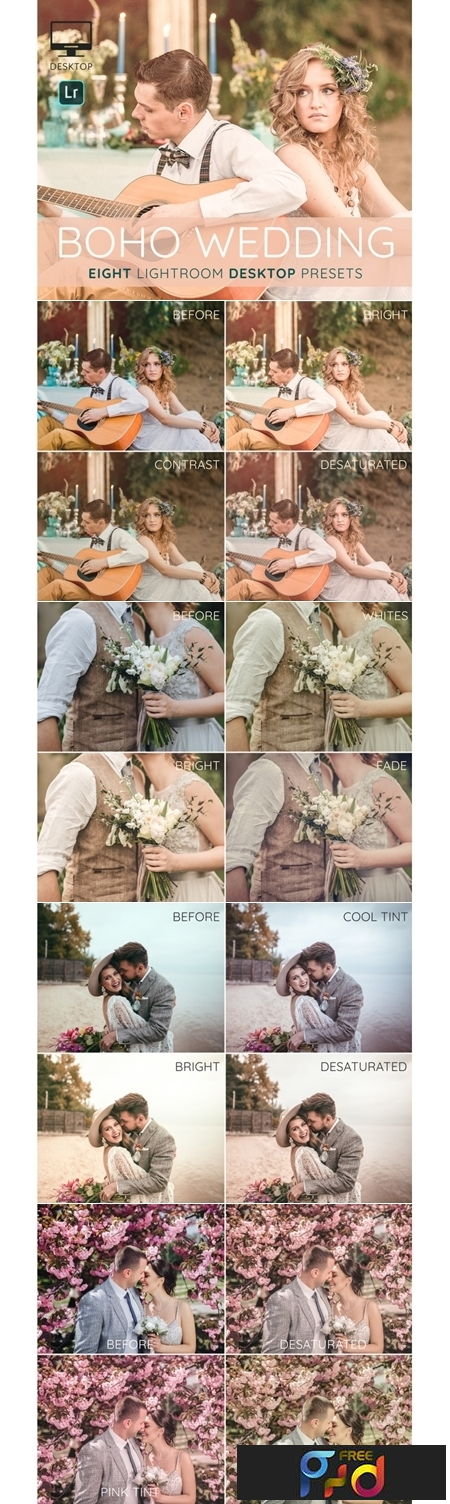 Boho Wedding Lightroom desktop presets 1
