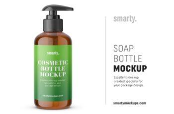 Amber soap bottle mockup 3447216 3