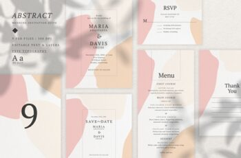 Abstract Wedding Invitation Suite 3539761 2