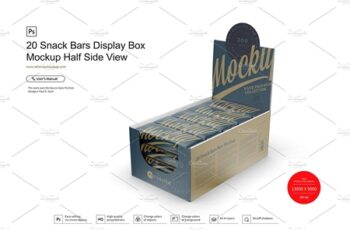 20 Snack Bars Display Box Mockup 3761801 3