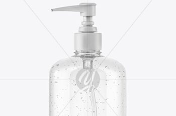 Clear Cosmetic Bottle with Pump Mockup 37291 5