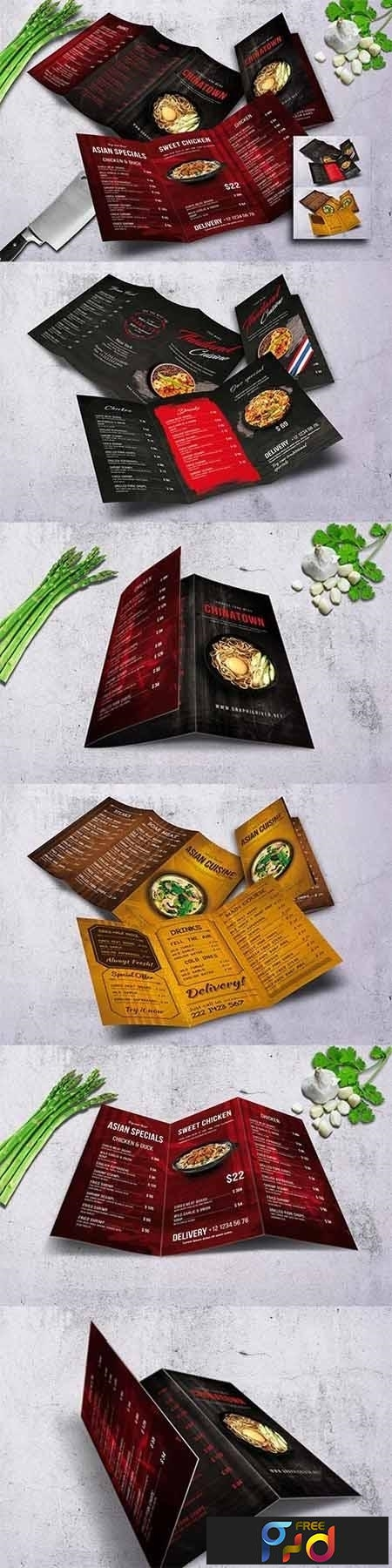 Different Cuisine Trifold Menu Bundle 1