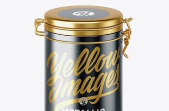 Matte Metallic Jar With Locking Lid Mockup (high-angle shot) 41976 3