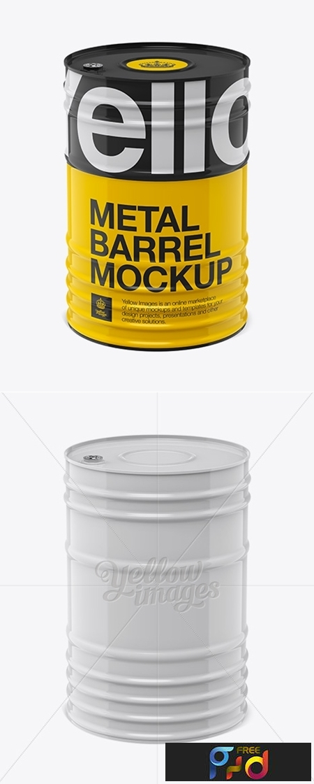 200L Metal Barrel Mockup - Front View (High-Angle Shot) 12249 1