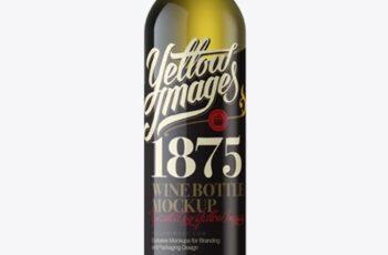 Antique Green Wine Bottle Mockup - Front View 12195 9