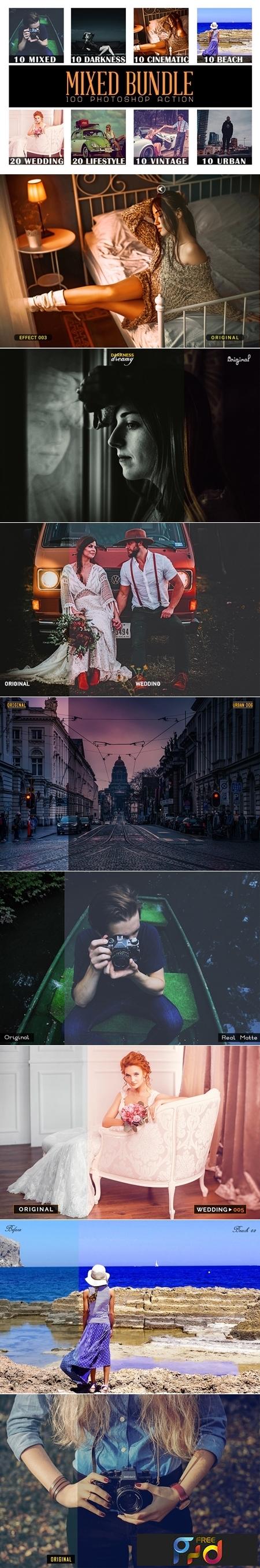 100 Mixed Bundle Photoshop Action 1