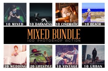 100 Mixed Bundle Photoshop Action 6
