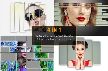 4 in 1 Vertical Panels Portrait Bundle Photoshop Action 6