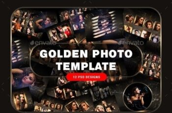 Golden Photo Frame Template 23817622 8