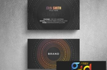 Business Card Layout with Circular Decorative Pattern 264617867 9