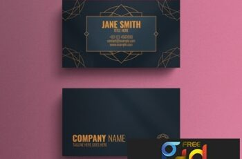 Business Card Layout with Geometric Decorative Accents 264617856 4