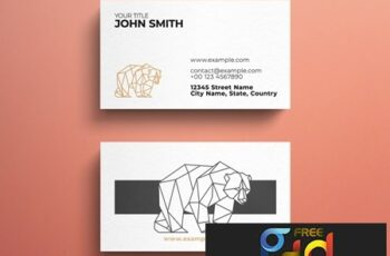 Minimalist Business Card Layout with Geometric Bear Logo 264617912 4