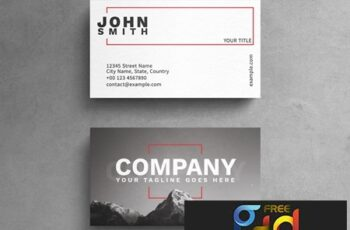Minimalist Photograph Business Card Layout with Red Rectangle Accents 264617876 2