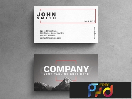 Minimalist Photograph Business Card Layout with Red Rectangle Accents 264617876 1