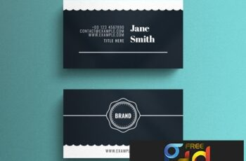 Simple Business Card Layout with Scalloped Edge Accent 264617861 5