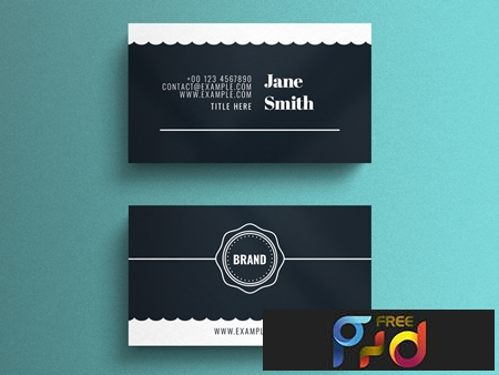 Simple Business Card Layout with Scalloped Edge Accent 264617861 1