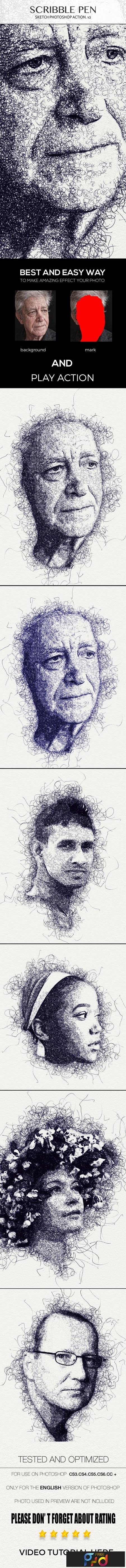 Scribble Pen Sketch Photoshop Action v2 23702601 1