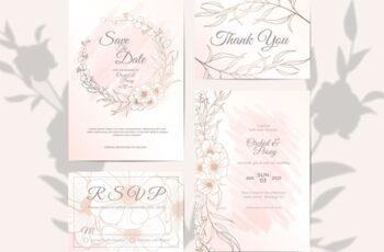 Wedding Invitation Set Elegant Outlined Floral Watercolor Background 6