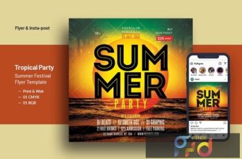 Tropical Party Summer Festival Square Flyer V-11