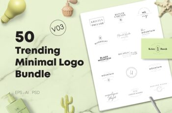 50 Trending Minimal Logo Bundle V03 3875124 1