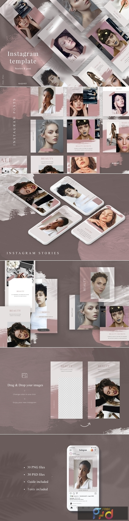 Beauty Instagram Template, Social media pack, Fashion stories template 1