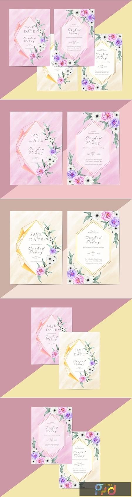 Elegant Floral Wedding Invitation Card Template Modern Style 1