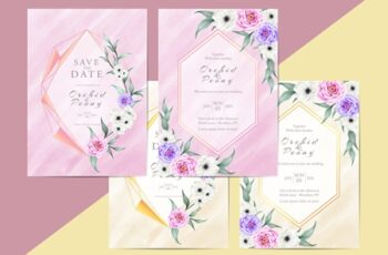 Elegant Floral Wedding Invitation Card Template Modern Style 4