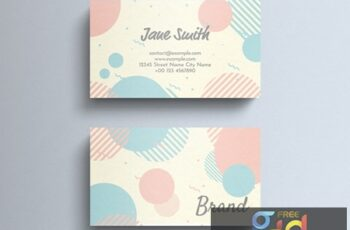 Pastel Business Card Layout with Circle Decorations 274315599 3