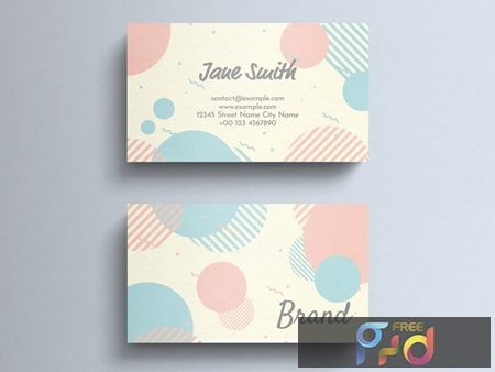 Pastel Business Card Layout with Circle Decorations 274315599 1