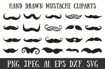 20 Handmade Mustache Cliparts 1