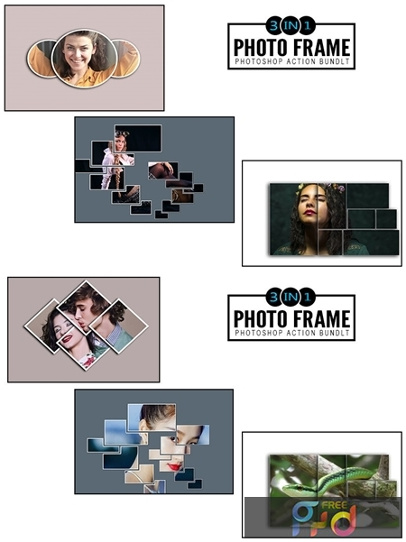 3 IN 1 Photo Frame Photoshop Actions Bundle 1