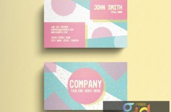 Business Card Layout with Pastel Geometric Accents 274315595