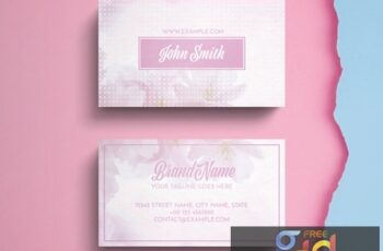 Business Card Layout with Pink Accents 274315583 4