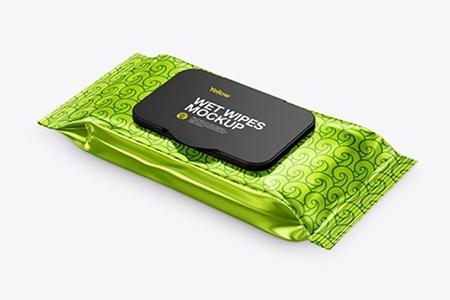 Metallic Wet Wipes Pack With Plastic Cap Mockup 42072 Freepsdvn